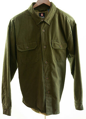 CHAPS Men's Shirt Jacket XL dark olive cotton shell, sewn-in padded plaid lining