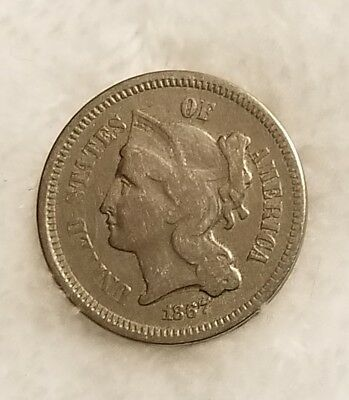1867 III Cent Nickel - Very Fine Condition -  Low Mintage Coin -