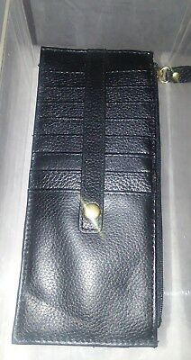 NWOT Lodis Black//Silver Leather Credit Card Stacker Wallet Insert
