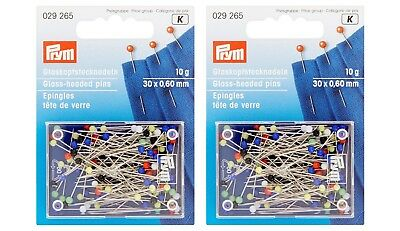 Prym Glass-headed Pins No. 9 Silver Assorted Colours 0.60x30 mm - Twin Pack