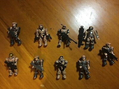 9 UNSC figures halo Mega Bloks with weapons