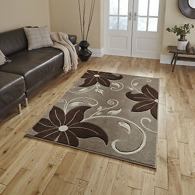 Quality Beige Brown Small Large Thick Verona Carved Floral Modern Rugs Runners