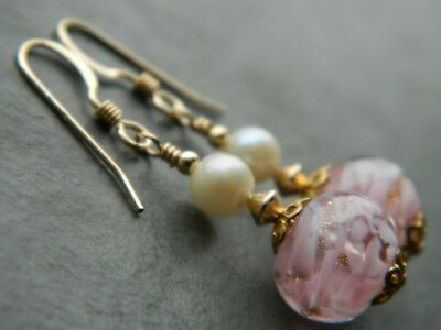 Art Deco MURANO Pink, Sommerso & Aventurine Glass, Pearls & Rolled Gold Earrings