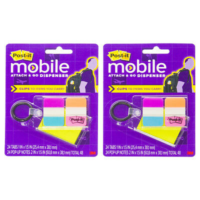 Post-it (2 Pack) 3M Attach & Go Tab Dispenser Keychain Sticky Note Flags Office