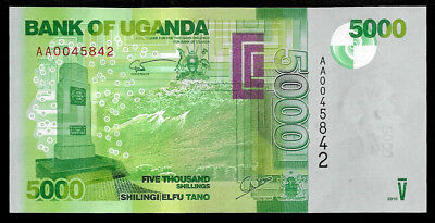 World Paper Money - Uganda 5000 Shillings 2010 P51 @ Crisp UNC