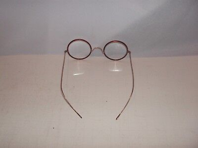 Antique, Vintage Red Plastic/gold Frame Glasses, Beaumond, Magnifiers, Reading