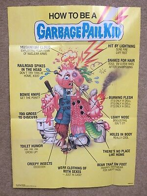 1986 Garbage Pail Kids Poster~HOW TO BE A GARBAGE PAIL KID #16 Vintage~Topps~New