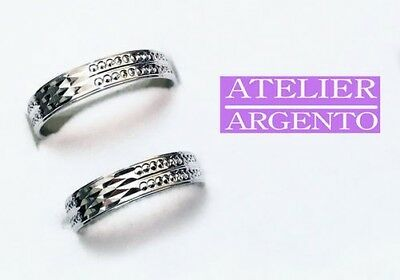 Pair Of Wedding Rings By Engagement Atelier 925 Silver All Sizes + Incision