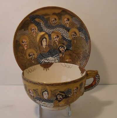 Superb Japanese Satsuma Immortals Cup And Saucer Meiji Period Signed