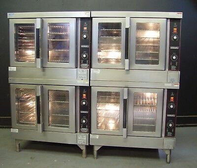 Two Hobart HGC5 Series Full Size Double Stack Natural Gas Convection Ovens