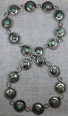 SILVER AND TURQUOISE Concho Belt Navajo Native American