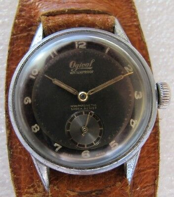 Rare vintage two tone Ogival military WWII hand winding men's watch from 1940's