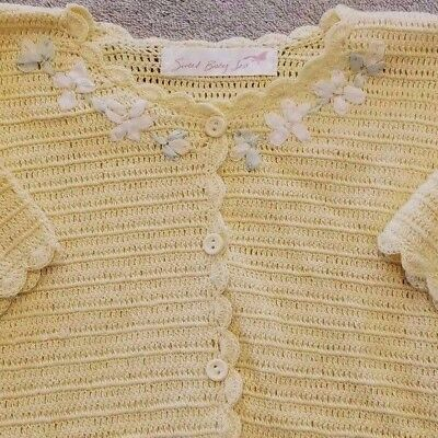Darling! Sweet Baby Jess 6-12 Month Yellow Floral Scalloped Edge Knit Sweater