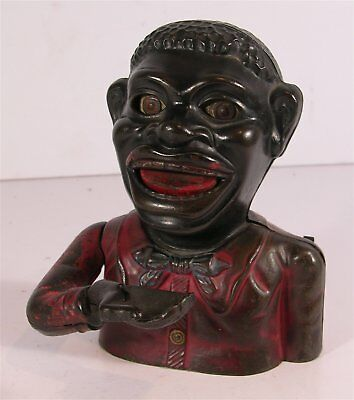 "c1910 CAST IRON MECHANICAL BANK BLACK AMERICANA JOLLY ""N"" BLACK MAN By HARPER"