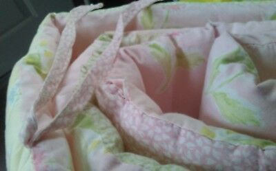 Laura Ashley Baby Crib Soft Quilted Pink Pastel-Colored Ruffled Bumper Pad w tie