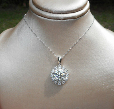 "3.21ct H-i White Moissanite Halo Necklace 18"" Chain 925 Sterling Silver cz accts"