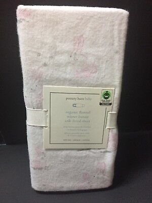 Pottery Barn Kids FLANNEL Winter BUNNY Crib Baby Toddler SHEET Bed EASTER NEW