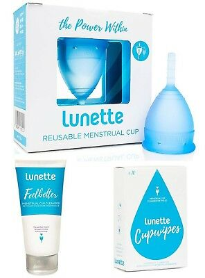 Lunette Menstrual Cup BLUE Size 1 Bundle Value Pack Wipes Feelbetter Cleanser