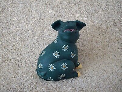 Collectible Pig Figurine Made in Philippines Green with Flowers Handpainted