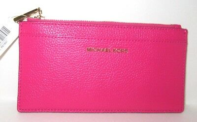 wholesale dealer ee7db 2da6d MICHAEL KORS MONEY Pieces Large Slim Card Case Ultra Pink Leather Wallet  NWT $78