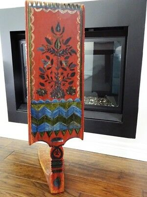folk art RUSSIAN DISTAFF old believers HAND PAINTED textile spinner blade ETHNIC