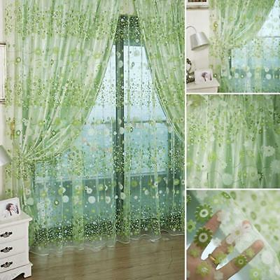 Floral Sheer Window Curtain For Bedroom Living Room Deco Voile Tulle Drape Panel