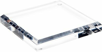 """Plymor Brand Clear Acrylic Square Beveled Display Base.75"""" H x 5"""" W x 5"""" D New"""