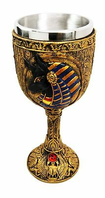 Ancient Egyptian God Of The Dead Anubis Resin Wine Goblet Chalice With St... New