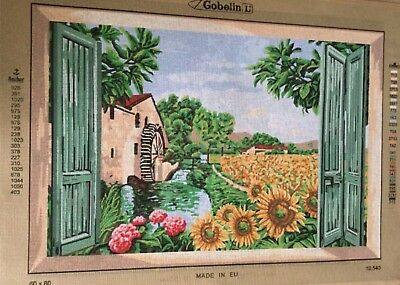 Window View Of Sunflower Field Tapestry To Stitch
