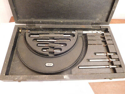 """FOUND""""  WOODEN BOXED MOORE & WRIGHT 2""""-6"""" IMPERIAL  MICROMETER SET No 942"""