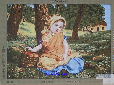 Young Girl With Basket Of Apples Tapestry To Stitch