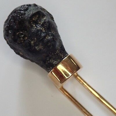 Vintage Egyptian 14K Gold Stick Pin With Ancient Artifact Black Pottery Head
