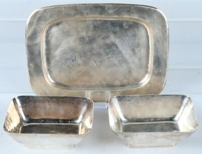 Dirk Van Erp Silverplate Tray & 2 Serving Dishes 1930s Modern San Francisco