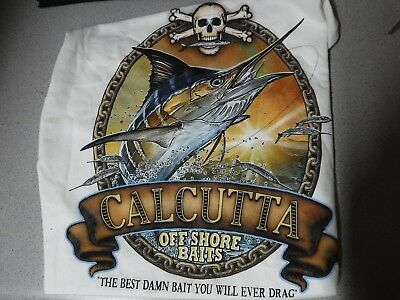 New Authentic Calcutta White SHIRT OLD SCHOOL MARLIN (CHAIN) LOGO  Small