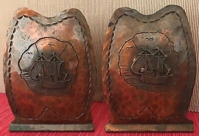 Arts and Crafts Hand Hammered Copper Ship Bookends by Drumgold