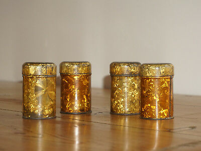 Antique set of metal traveling spice tins,4 small tins in larger tin. c1900-1910