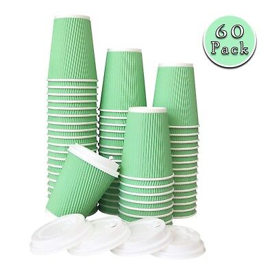 60 Pack -12 oz Premium Quality Disposable Hot Paper Coffee Cups With Lids... New