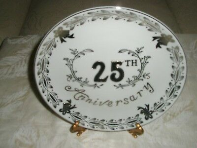 Vintage 25th Anniversary Porcelain Silver Bells Decorative8 Inch WallPlate