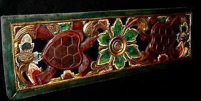 Sea Turtle architectural Panel wall art sculpture Carved Wood Balinese carving