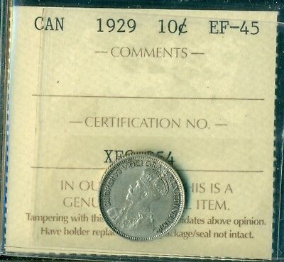 1929 Canada King George V Ten Cent ICCS EF-45