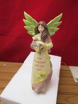 Comforting Embrace Angel Figurine Cat Your Beloved Friend Walks With Angels Russ