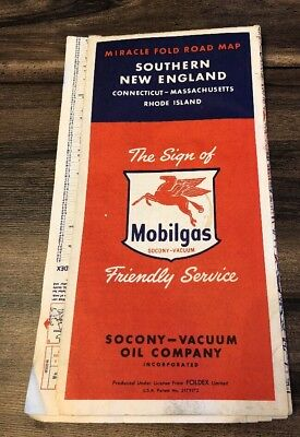 VINTAGE 1950's Socony Mobil Oil Gas Southern New England Road Map Miracle Fold