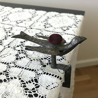 Antique Victorian Bird Table Clamp Pin Cushion Back Fabric Holder