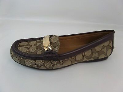 7115e5afe72 NWB Coach Olive brown khaki leather canvas gold logo flat Loafers shoe SZ  7.5