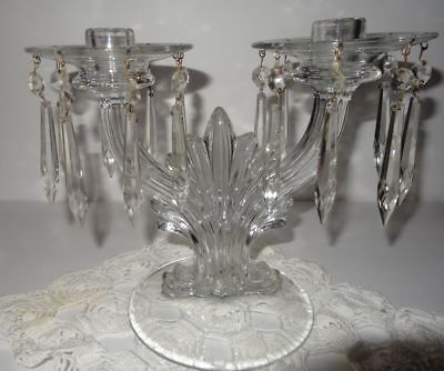 Glass Double Candle Holder Bobeche Prisms