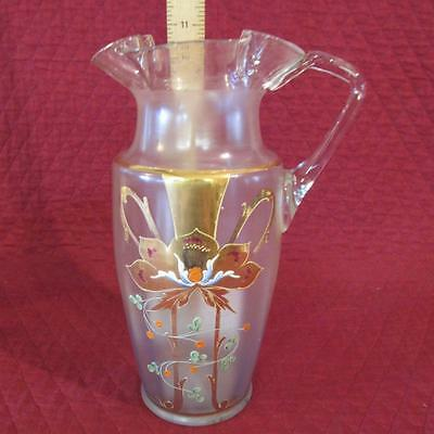 """Victorian Hand Painted Gold Floral on Frosted Blown Glass 11"""" Pitcher Ruffle Rim"""