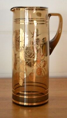 Vintage Bohemian glass jug Czechoslovakia smokey glass YLBT6