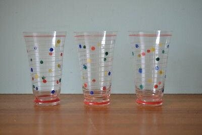 Vintage 3 x  coloured  polkadot drinking glasses 50s mid century