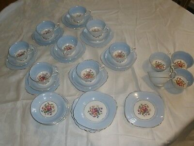 Taylor & Kent Tea Trios Set Of 12 - Pretty Blue & Flowers - Pick Up From Vic
