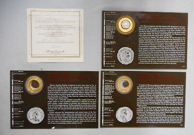#Bb.  Three Cased Ancient Roman Coins With Coa
